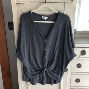 Waffle Tie- Front Grey Blouse - Piper & Scoot